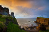 49  Sunset on Cliff and Castle.  Dunluce Castle, Northern Ireland.