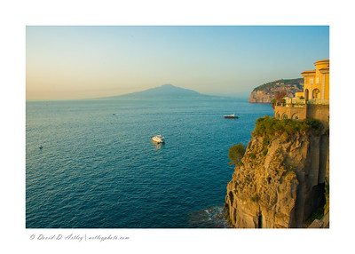 Cliffs overlooking Gulf of Naples and Isle d'Ischia, Sorrento, Italy