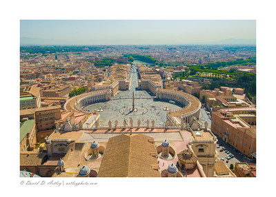 View east toward St. Peter's Square, from Dome of St. Peter's Basilica
