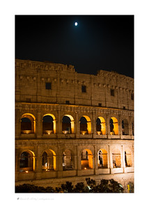 Colosseum at night with moon, Rome, Italy