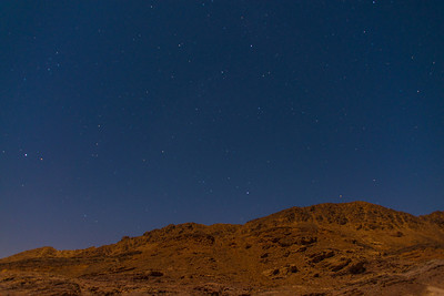 Feynan Ecolodge.  about 11pm.  Long exposure makes it look like dusk.  Feynan, Jordan.