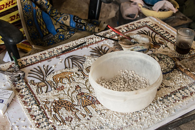Mosaic being created. Near Mount Nebo. Madaba, Jordan.