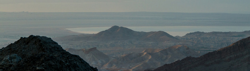 Mountains overlooking the Dead Sea around sunset.  Central Jordan.
