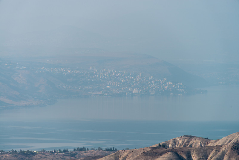 Tiberias, across the Sea of Galilee.  The Golan Hights are in the fore ground. Taken from Umm Qais. Gadara, Jordan.