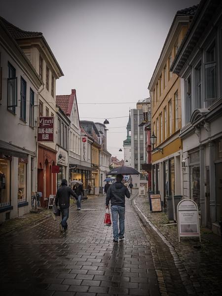 Norway, Bergen - Shopping on pedestrian path