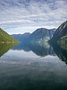 Norway, Hellesylt - View of mountains and Geirangerfjord