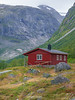 Norway, Gjerde - Close up of red cabin