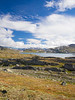 Norway, Jotunheimen - View of lake basin with distant mountains