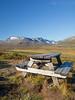 Norway, Jotunheimen - Picnic table with view near Bessegen