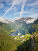 Norway, Geiranger - Cruise ship docked in Geiranger from above