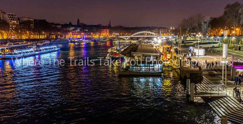 Nightime Scene Along The Seine