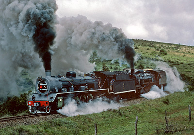 A freight thrash up the hill between Alicedale and Grahamstown.  October 1983.