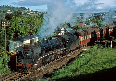 Departing Grahamstown for the junction with the mainline at Alicedale.  October 1983.