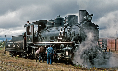 July 2003.  Riobamba.  The 50-series mikes were built by Baldwin-Lima-Hamilton in 1953, among the last new steam engines built in the U.S.   Really ugly domes!