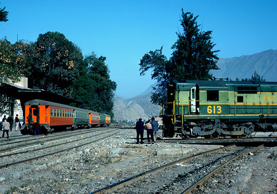 June 1976.   San Bartolome on the Central of Peru.  The first of many switchbacks on the climb to the highest railway pass in the world.