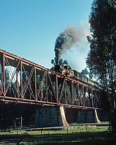 June 1976.  Huancayo y Huancavelica railway leaving Huancayo.