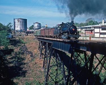 January 1975.  A chartered train leaves Mazatenango.