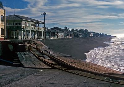 November 1973.  The black sand beaches at Puerto San Jose.