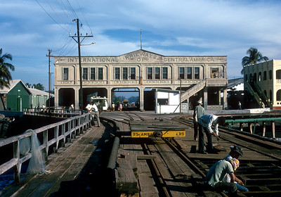 November 1973.  The head house at the Puerto San Jose pier.  This is where the first railroad in Guatemala started in 1880.  The IRCA has been gone for about three years but FEGUA hasn't bothered to repaint the name.  A more modern port was built just to the south and rails laid, but never used.