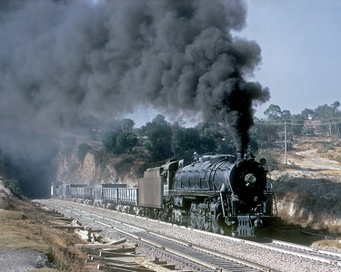 January 1968.  Northbound out of the tunnel just north of Valle de Mexico yard.