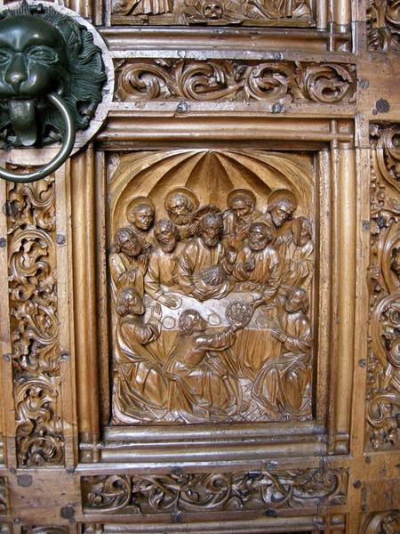 Carvings on church door