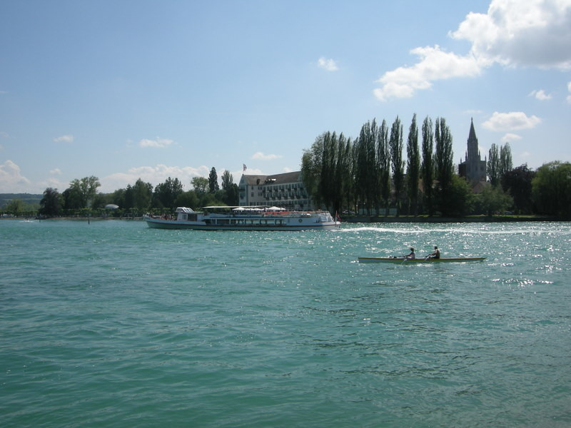 Tourboats and rowers on the Bodensee