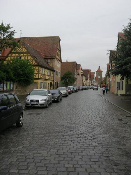 Wet street in Rothenburg ob der Tauber