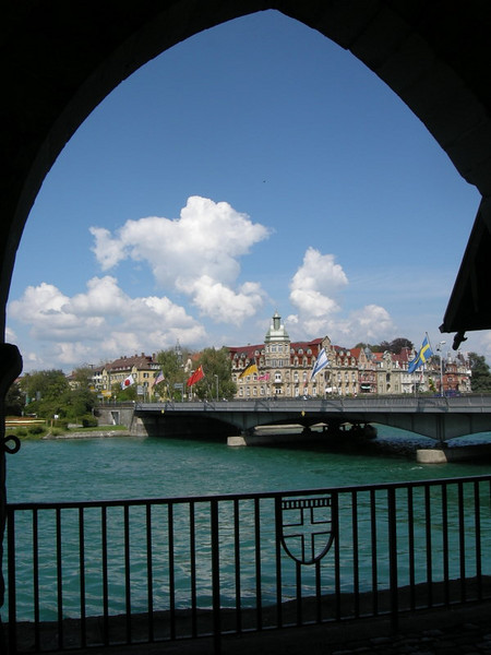 View of the bridge from inside the rheintorturm (old gate along the city wall)