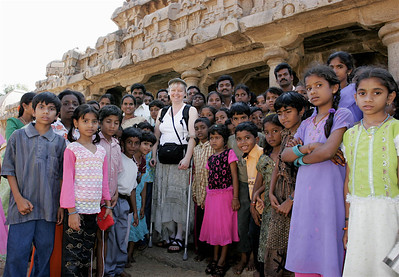 Carol and school children in front of Bhima's Ratha