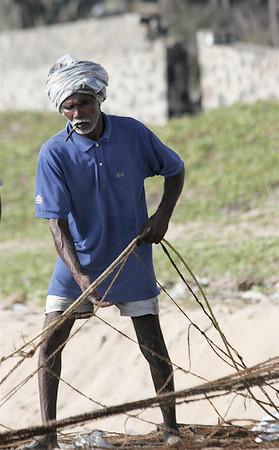 Hard working fisherman