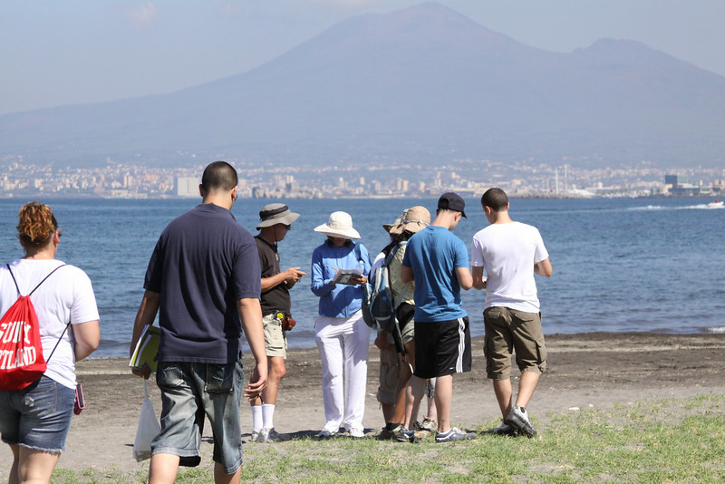 "Learning mapping techniques called ""orienteering"" on the beach, one-quarter mile from the Vesuvian Institute, in the shadow of Mt. Vesuvius."