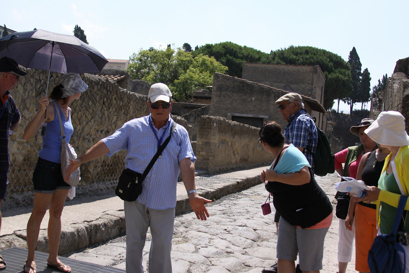 While exploring the ruins of Herculaneum, a local archeologist joined the group for an interdisciplinary approach to understanding the area.