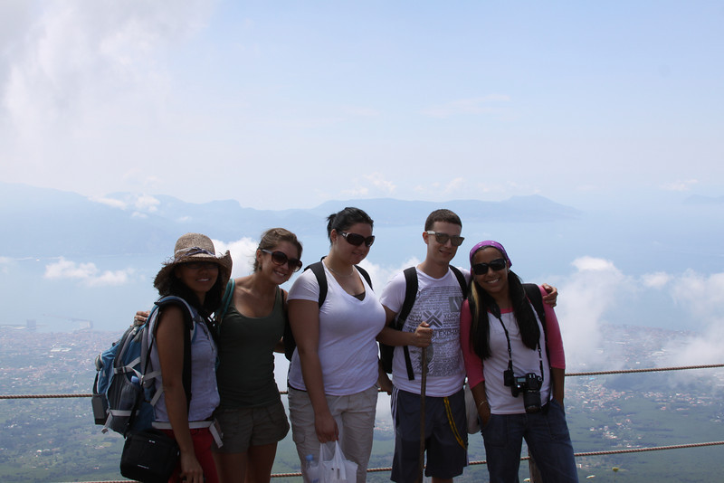 Students take a much needed break and photo op at the top of Mt. Vesuvius, high above the clouds and the Bay of Naples.