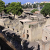 The ruins of Herculaneum are shown here below ground level of modern day Herculaneum.  These ruins are unique due to the preserved two story structures.