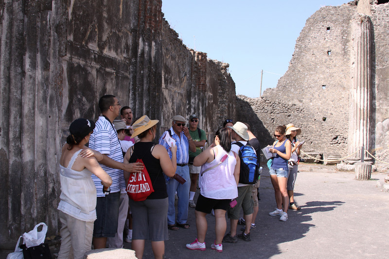 Standing in the ruins of Pompeii.