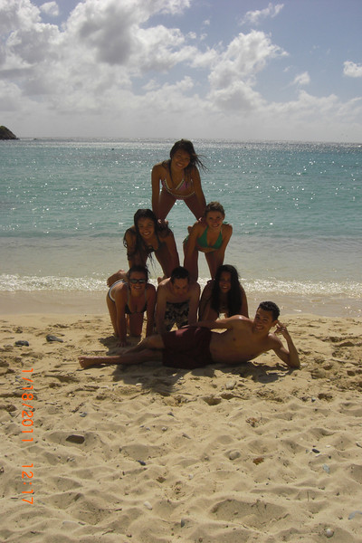 Free time on the beach; pictured: Tiffany Pham (top), Kaitlin Capdevielle and Maria Simonova (2nd row), Erica Zito, Brian Fettner, Anna Theodoropoulos (bottom row), Vinnie Frangipane (lying).  [Photo credit Annam Hussaini]