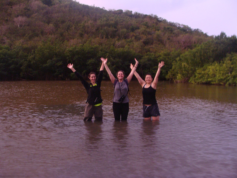 Early morning in the mangroves,pictured: Lisa LaManna, Erica Zito, Jinnie Cha.  [Photo credit:  Lisa Manne]
