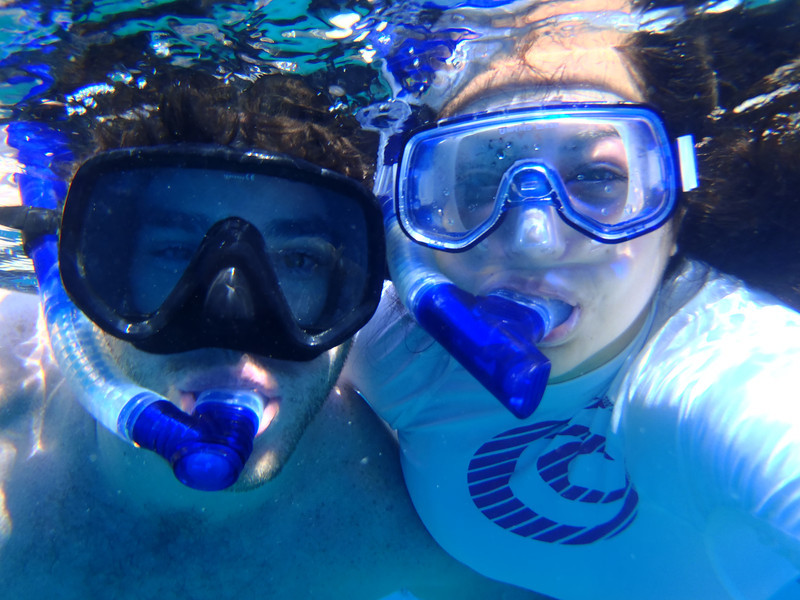 Get your snorkel on; pictured: Chris Ferro and Anna Theodoropoulos. [Photo credit: Anna Theodoropoulos]