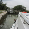 Working my line up the post as our boat rose in the lock.
