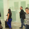 Finally!  At almost 12:30 pm, Linda comes through customs into the Arrivals Hall at El Prat Airport, Barcelona (as captured by my Flip Video)