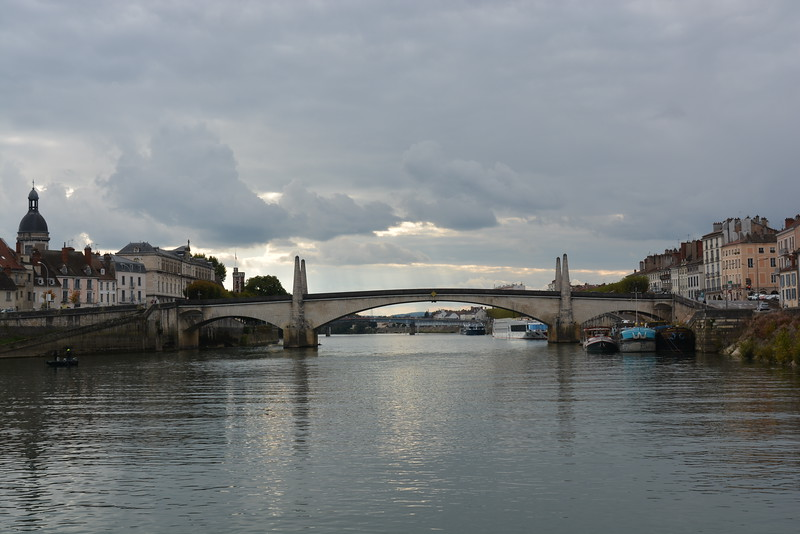 Saint-Laurent Bridge...coming into Chalon sur Saone.  Our port is past the bridge on the left, which is Saint-Laurent Island.  The  city center is on the right.