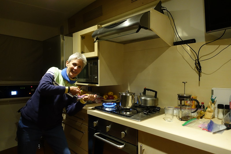 Although the boat had a heater, we found the stove to be much more efficient at warming.  All we need are marsmallows!