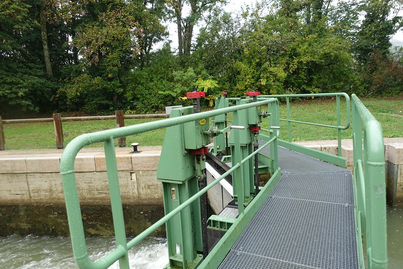 This picture taken after we opened the sluice gate to let upstream water into the lock.  You can see the churning water filling the lock