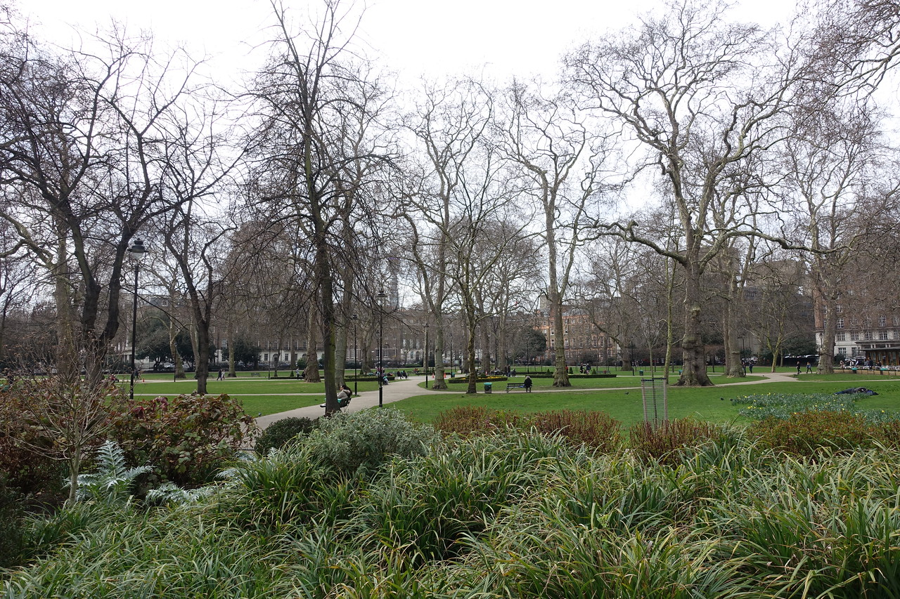 As soon as we checked in and put our bags down we were out the door to explore the writer's district of Bloomsbury.  Russel Square pictured.