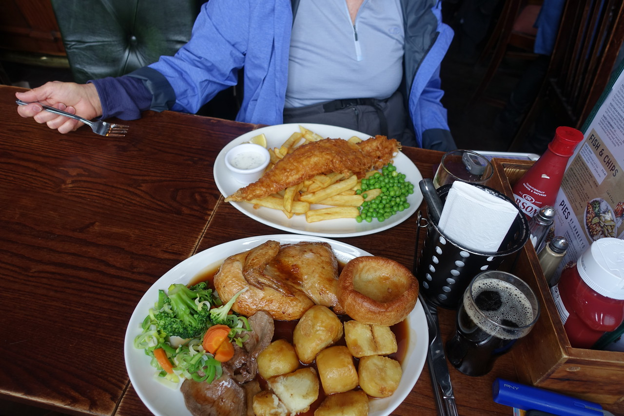 Our first meal at Museum Tavern.  Being Sunday, I had the roast beef and chicken with Yorkshire pudding.  Sandy had fish n chips - the best she's ever had.  Being across from the British Museum the pub was busy, but we found a table immediately.  Fun place with good brew.