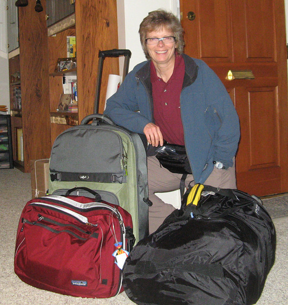 Packed and ready to go.  I carried 6 infant mannikins in the duffle throughout much of trip.