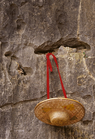 Hat Hanging on Wall, Stone Forest, Kunming, Yunnan Province, China, Asia, Asian