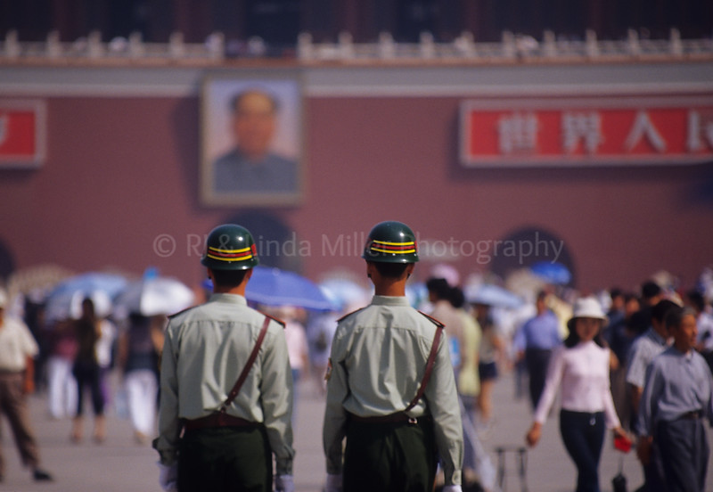 Police in Front of Gate of Heavenly Peace, Tian'anmen Square, Beijing, China, Asia, Asian