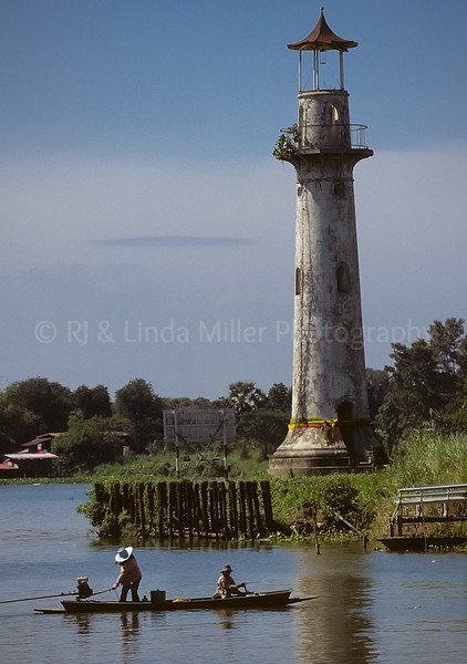 Lighthouse, Menam Chao Phraya River, Bang Pa, Thailand, Southeast Asia,