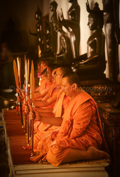 Monks Performing Ceremony, Wat Benchamabopitr, Marble Temple, Bangkok, Thailand, Southeast Asia,